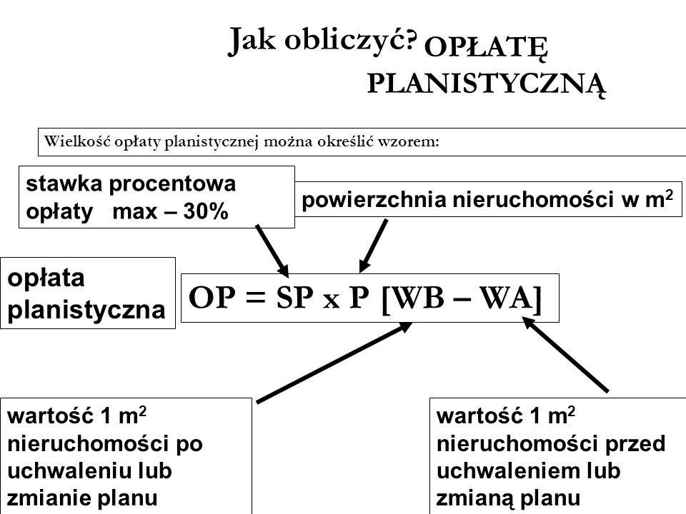Jak obliczyć OP = SP x P [WB – WA] OPŁATĘ PLANISTYCZNĄ opłata